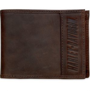 Harley-Davidson® Men's Embossed H-D Bi-Fold Wallet, Leather & Canvas